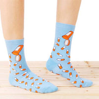 Colorful Pill Medicine Themed Long Cotton Socks in Blue