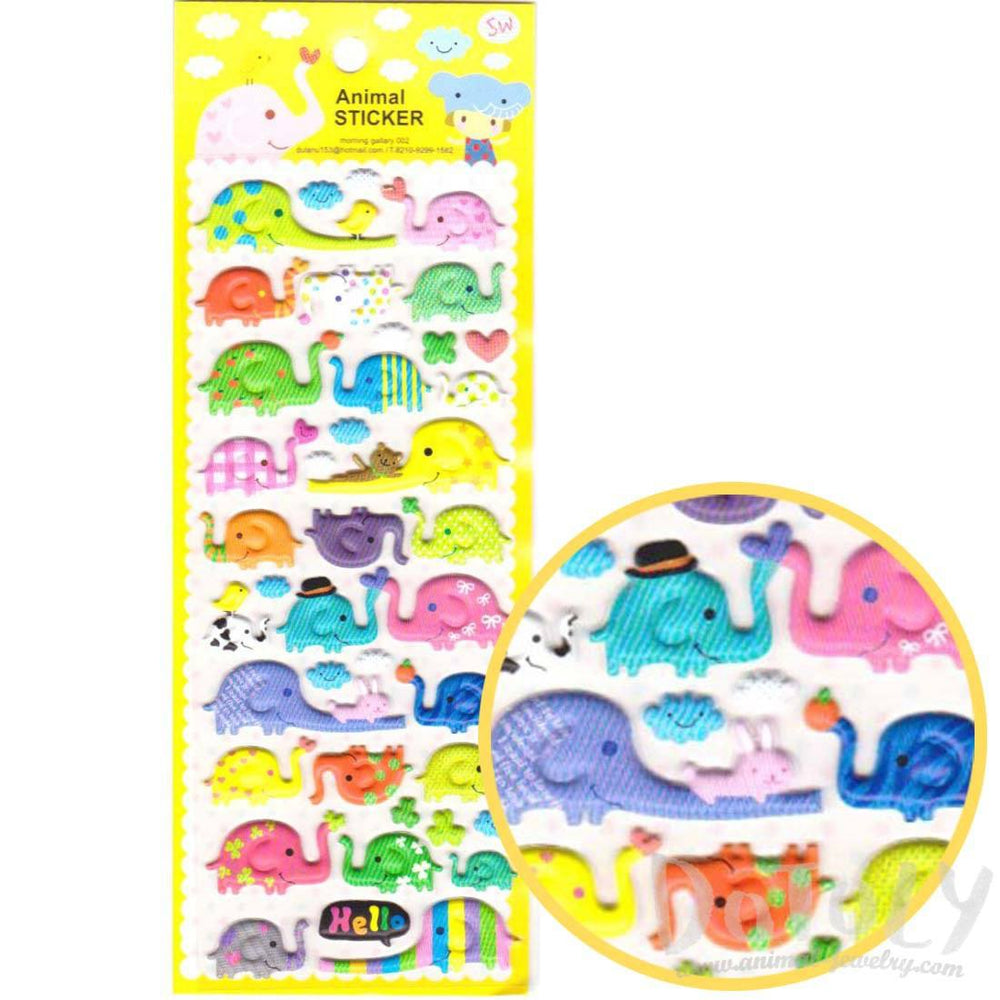 Colorful Printed Cartoon Elephant Shaped Puffy Stickers