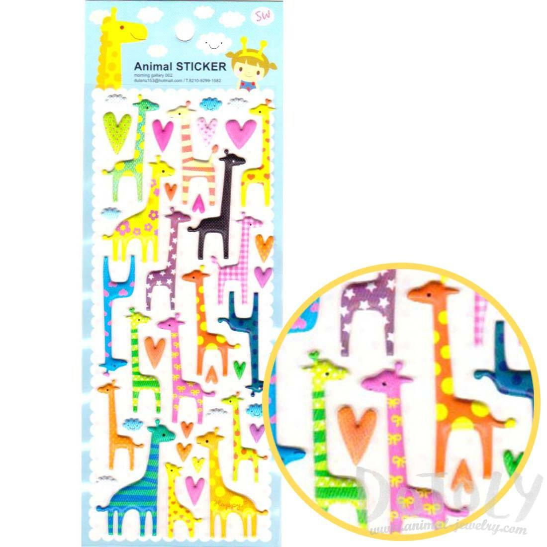 Colorful Printed Giraffe Shaped Animal Puffy Stickers