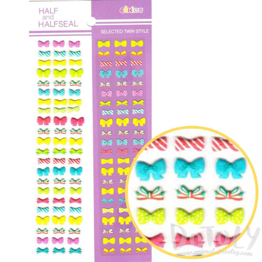 Colorful Ribbons and Bow Ties Shaped Puffy Flat Sticker
