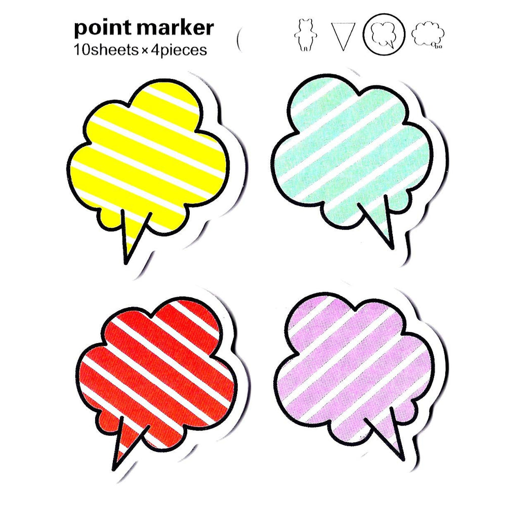 Colorful Striped Speech Bubble Outline Shape Memo Sticky Post-it Notes