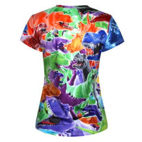 colorful-t-rex-all-over-collage-print-short-sleeve-t-shirt-for-women