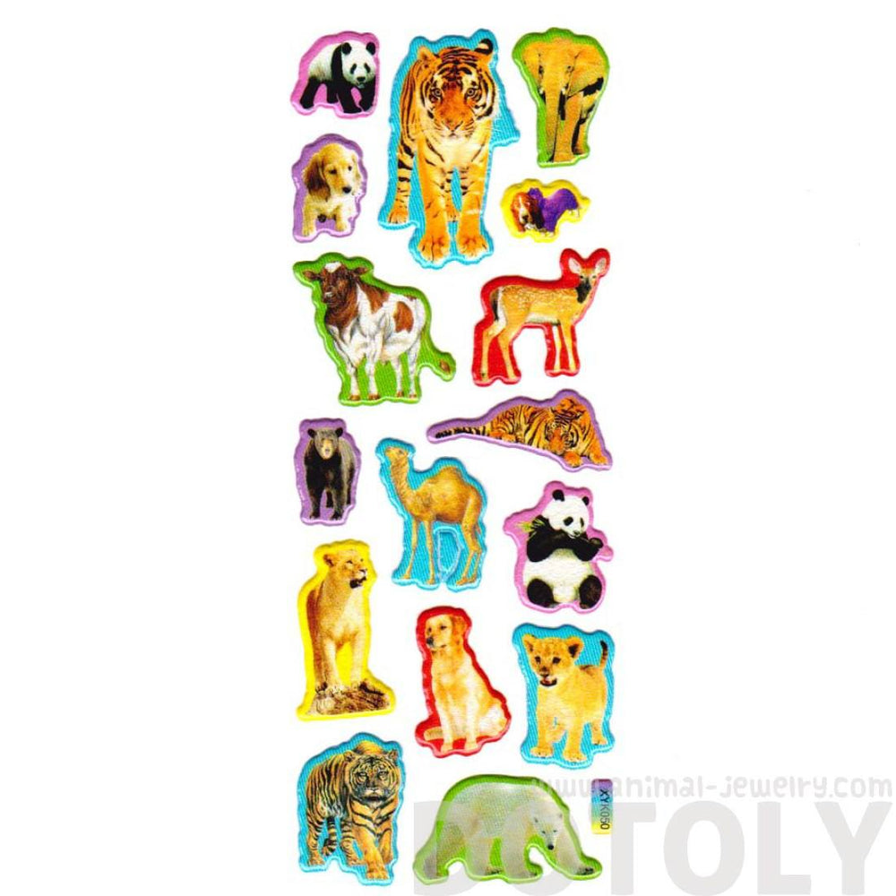 Colorful Tiger Camel Dog Cow Deer Shaped Animal Themed Photo Stickers