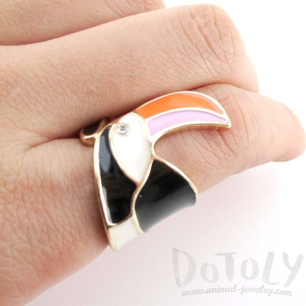 Colorful Toucan Bird Shaped Animal Themed Enamel Ring