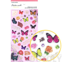 Colorful Tropical Butterflies Lace Roses and Floral Shaped Stickers