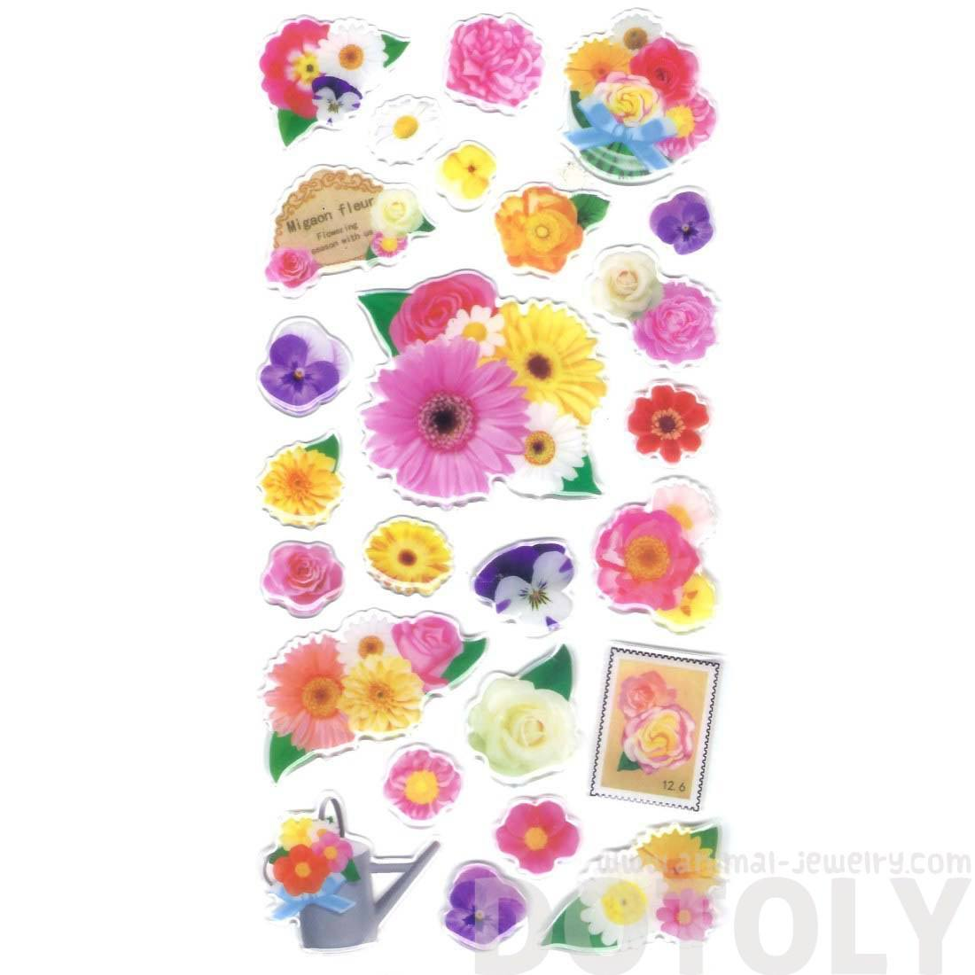 Colorful Tropical Flowers Sunflowers Shaped Spring Themed Stickers