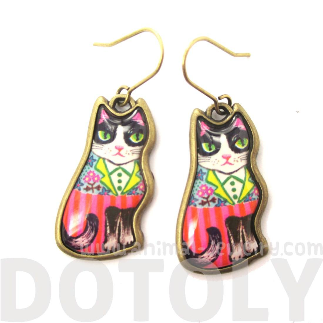 Colorful Tuxedo Cat Illustrated Animal Dangle Earrings