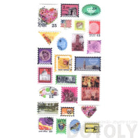 Colorful Vintage Stamps Shaped World Travel Airmail Themed Stickers