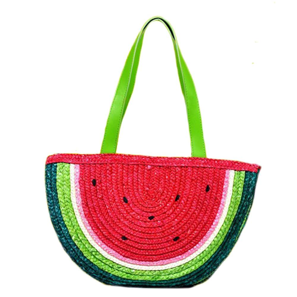Colorful Watermelon Fruit Shaped Straw Woven Summer Shoulder Bag for Women