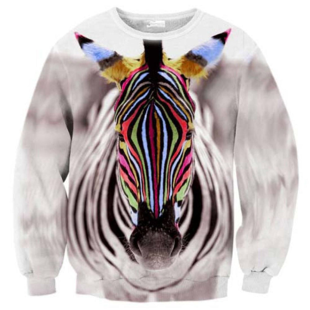 Colorful Zebra Face Digital Print Pullover Sweatshirt Sweater | DOTOLY