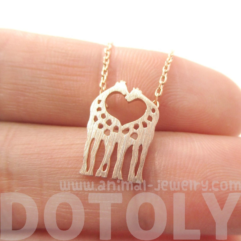 Kissing Giraffe Animal Shaped Silhouette Pendant Necklace in Rose Gold