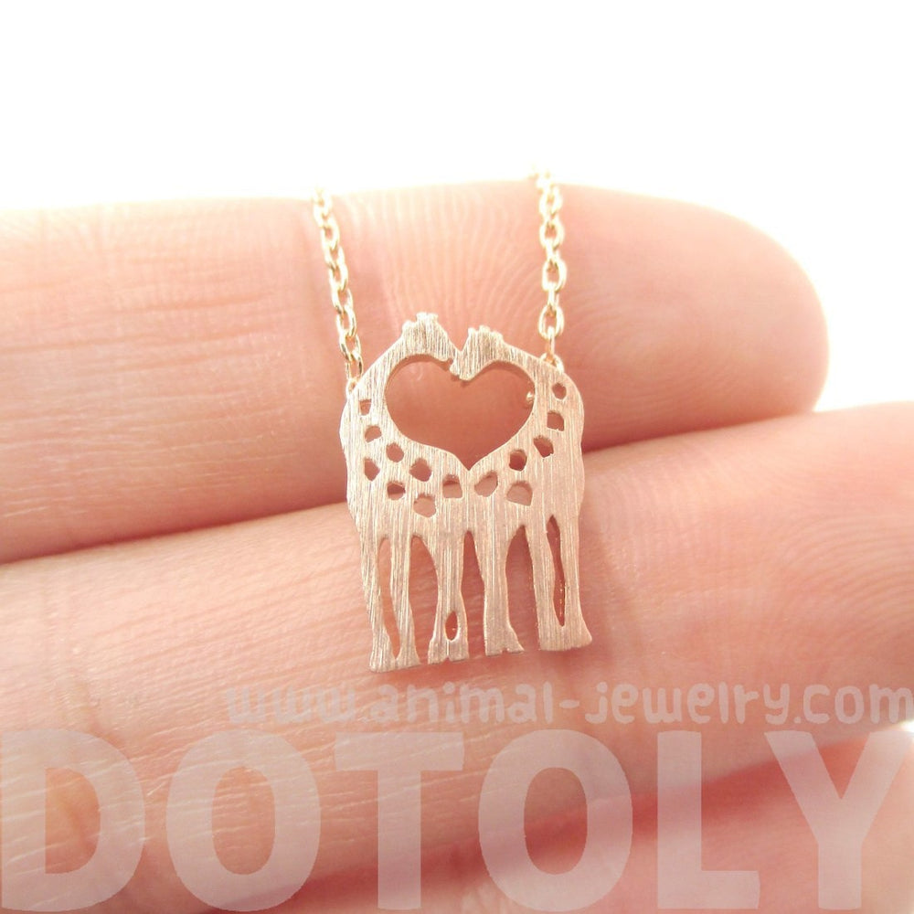 Kissing Giraffe Animal Shaped Silhouette Pendant Necklace in Rose Gold | DOTOLY | DOTOLY