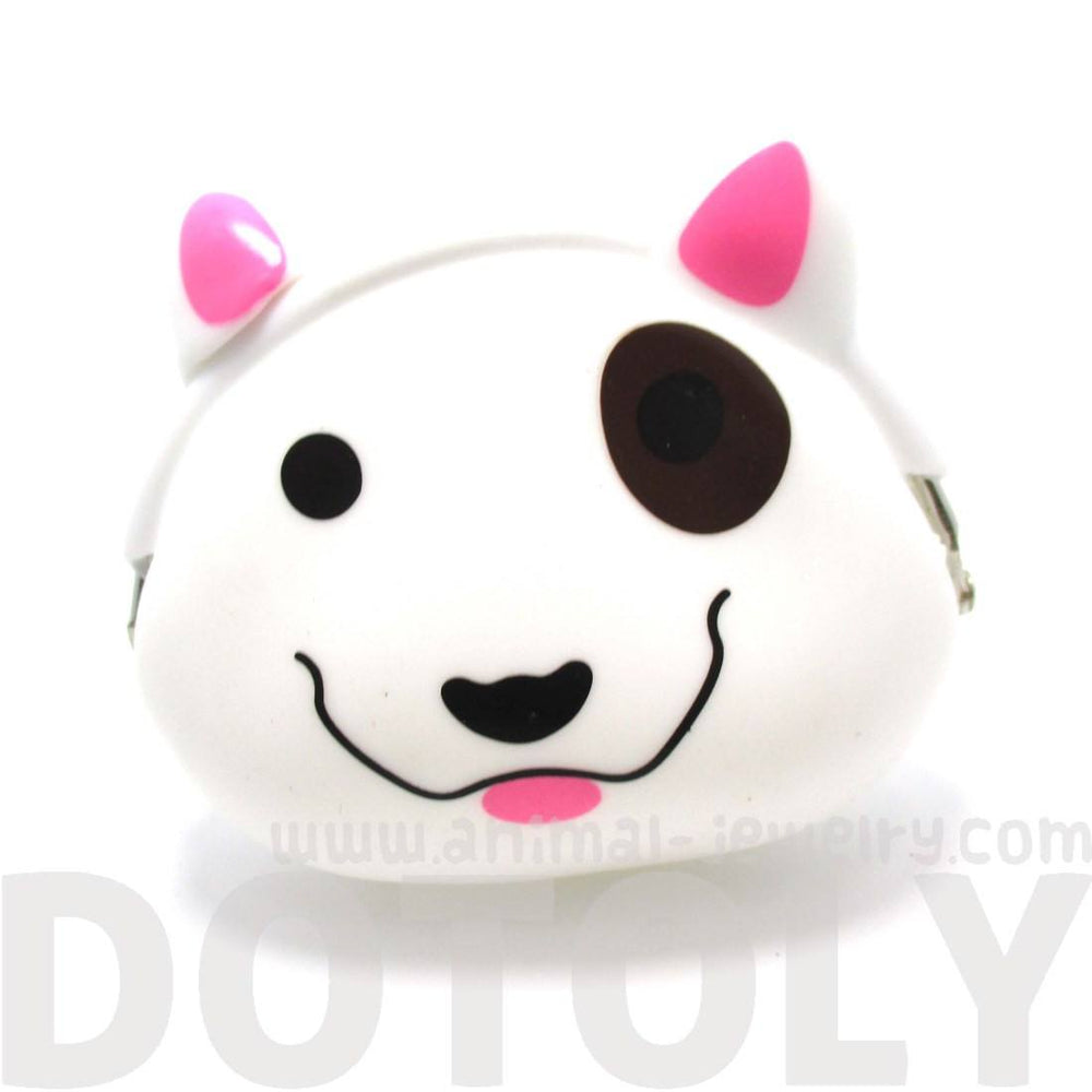 Bull Terrier Dog Face Shaped Silicone Coin Purse Pouch