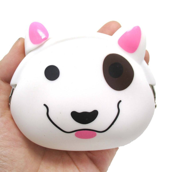 Bull Terrier Dog Face Shaped Mimi Pochi Animal Friends Silicone Clasp Coin Purse Pouch | DOTOLY
