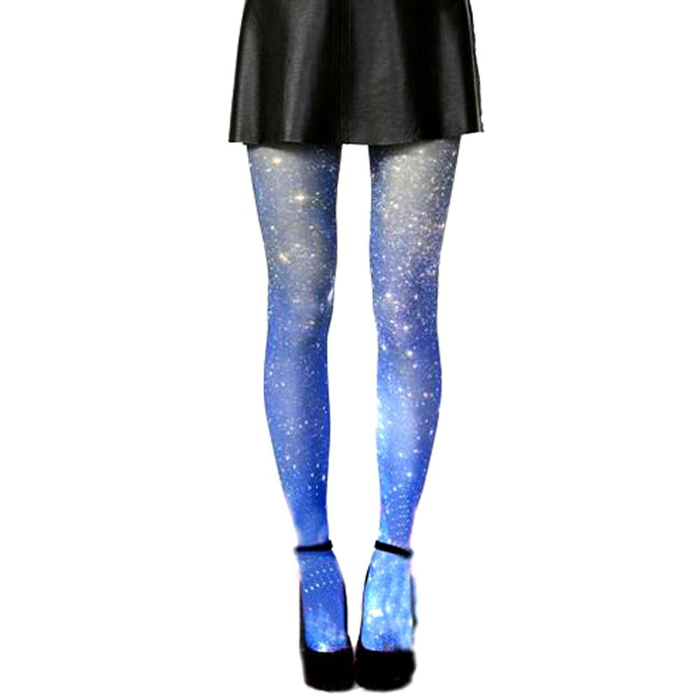 Cosmic Universe Galaxy Blue Sky Print Stocking Pantyhose Tights for Women