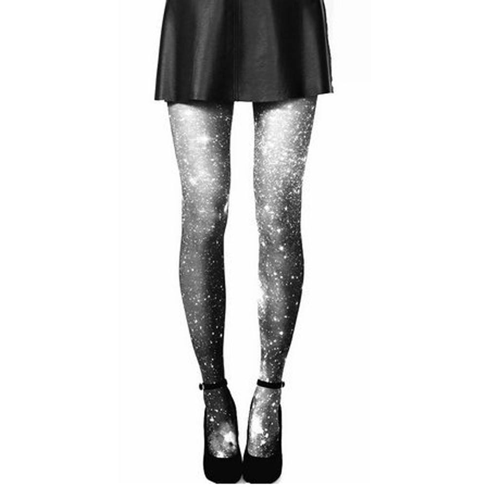 Cosmic Universe Galaxy Grey Skies Print Stocking Pantyhose Tights