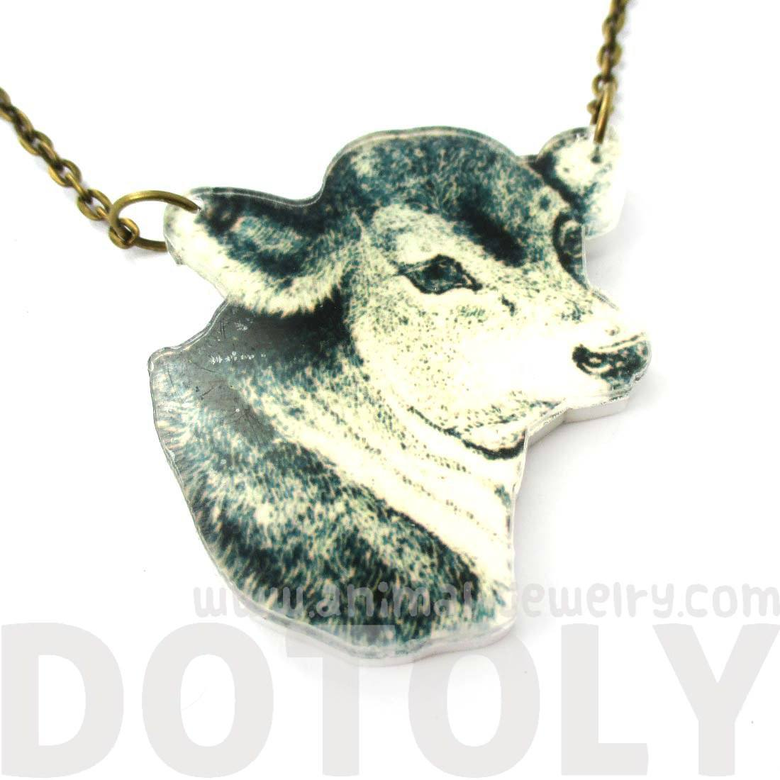 Cow Bull Farm Animal Head Shaped Acrylic Pendant Necklace | DOTOLY
