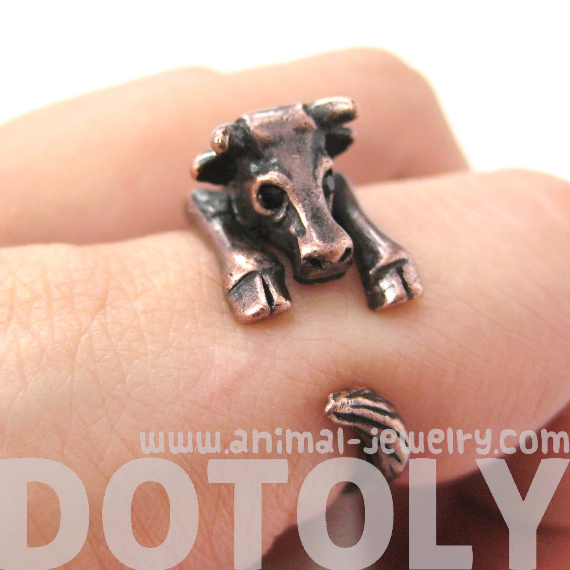Cow Bull Shaped Animal Wrap Around Ring in Copper | Animal Jewelry