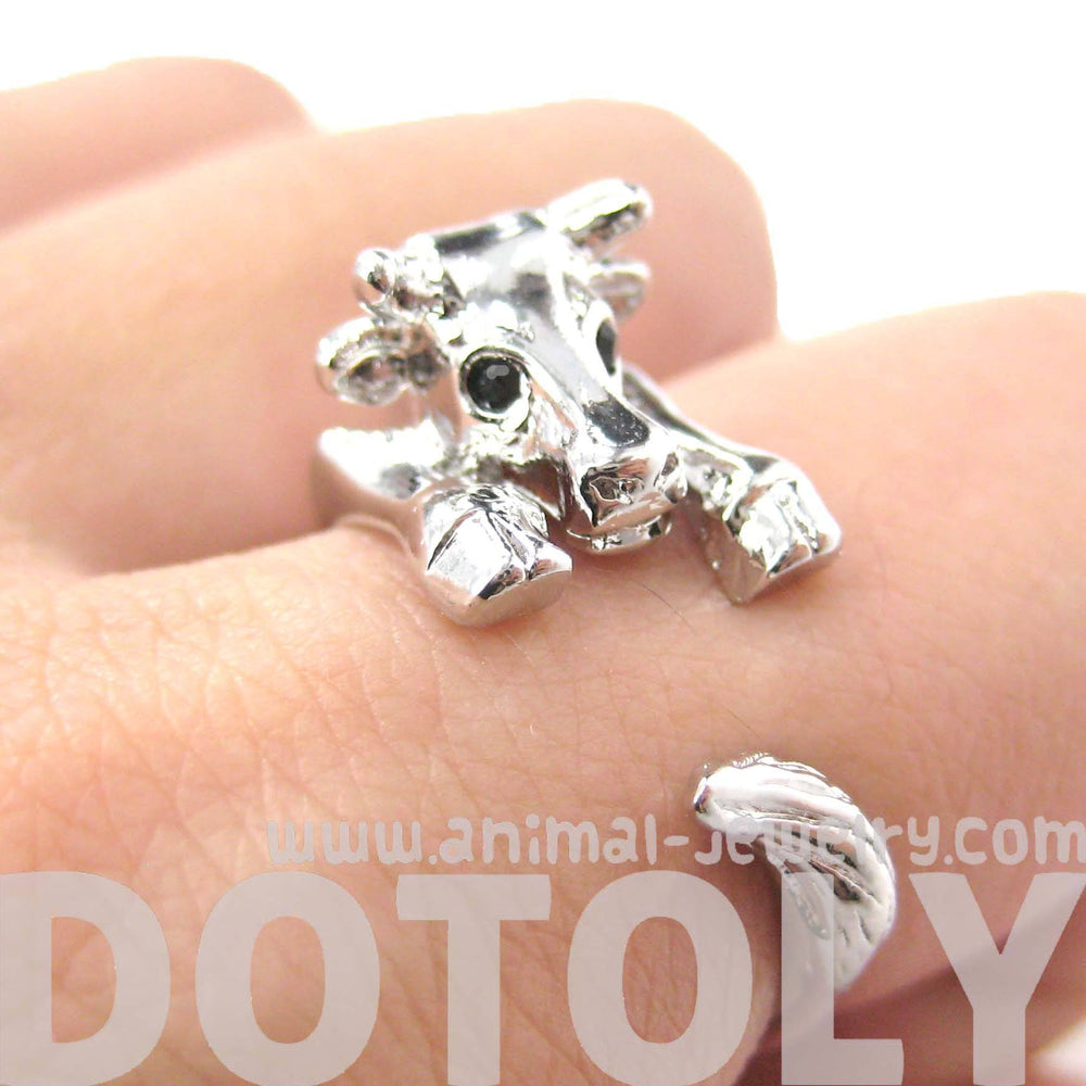 Cow Bull Shaped Animal Wrap Around Ring in Shiny Silver | US Sizes 4 to 9