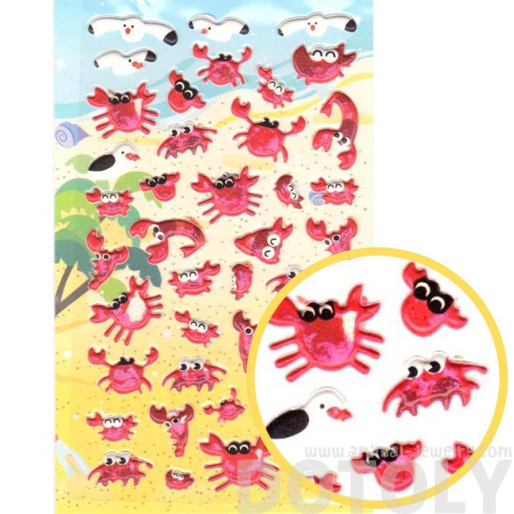 Crab and Seagulls Shaped Animal Themed Puffy Stickers