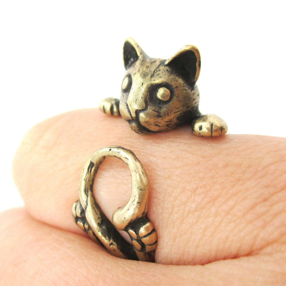 Creepy Kitty Cat Shaped Animal Wrap Around Ring in Brass | DOTOLY