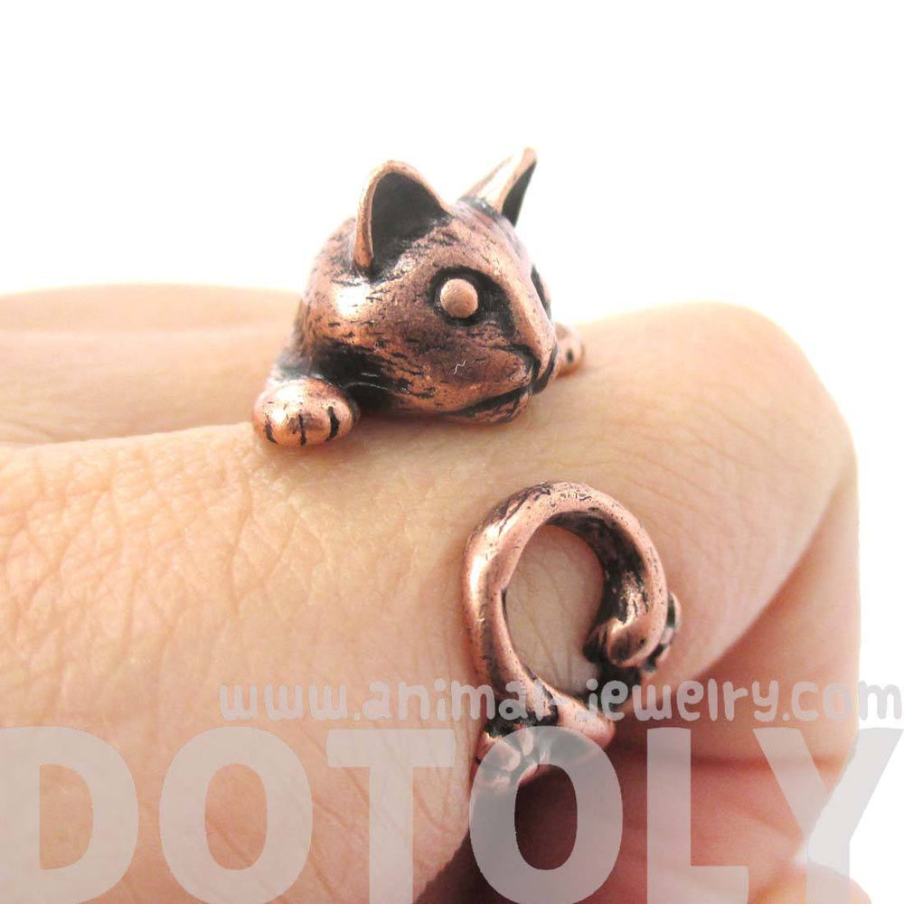 Creepy Kitty Cat Shaped Animal Wrap Around Ring in Copper | DOTOLY