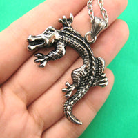 Alligator Crocodile Animal Pendant Necklace in Silver for Men and Women