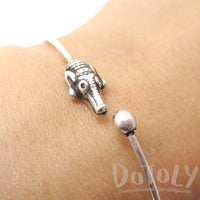 Crocodile Alligator Bangle Bracelet Cuff in Silver