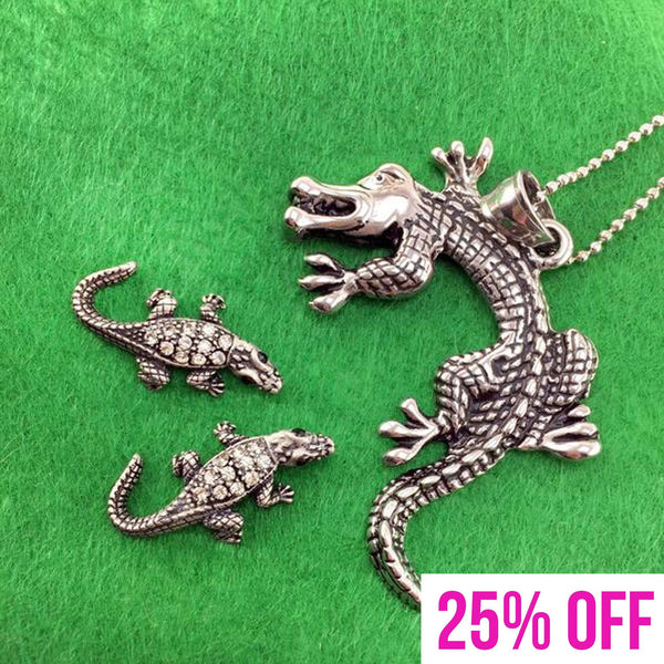 Crocodile Alligator Themed Necklace and Stud Earring Set in Silver