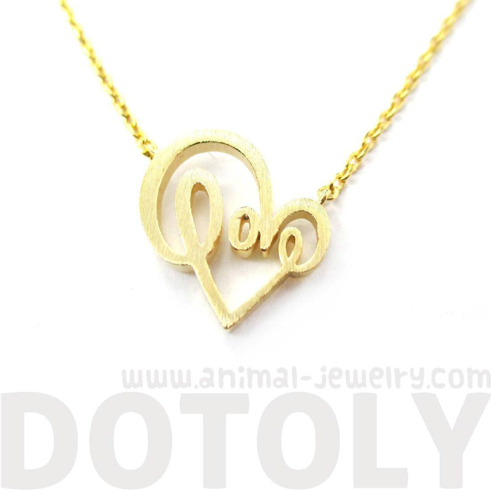Cursive Love Typography Forming A Heart Shaped Charm Necklace in Gold