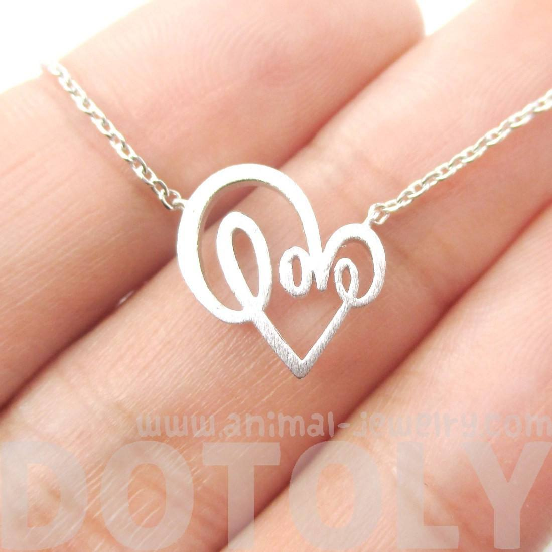 Cursive Love Typography Forming A Heart Shaped Silver Charm Necklace