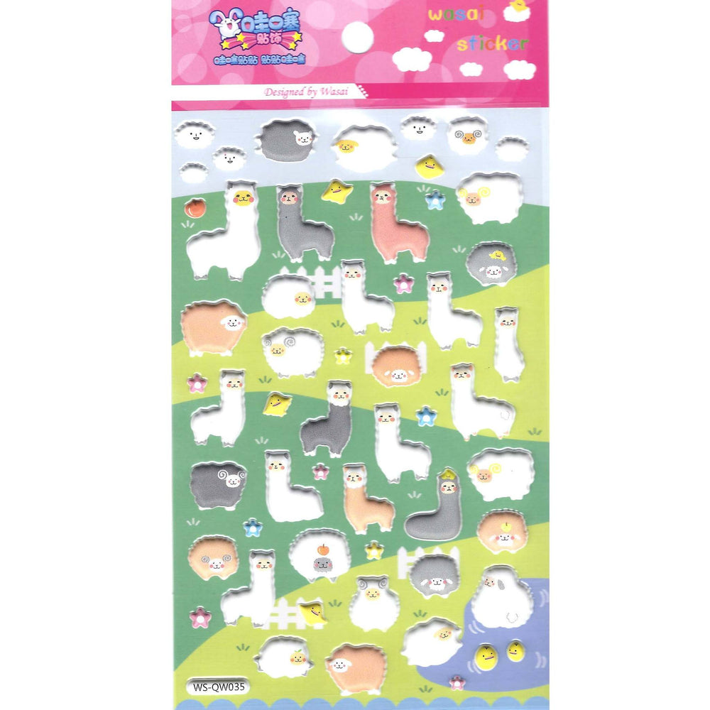 Cute Alpaca Llama Sheep Animal Shaped Puffy Stickers for Scrapbooking | DOTOLY