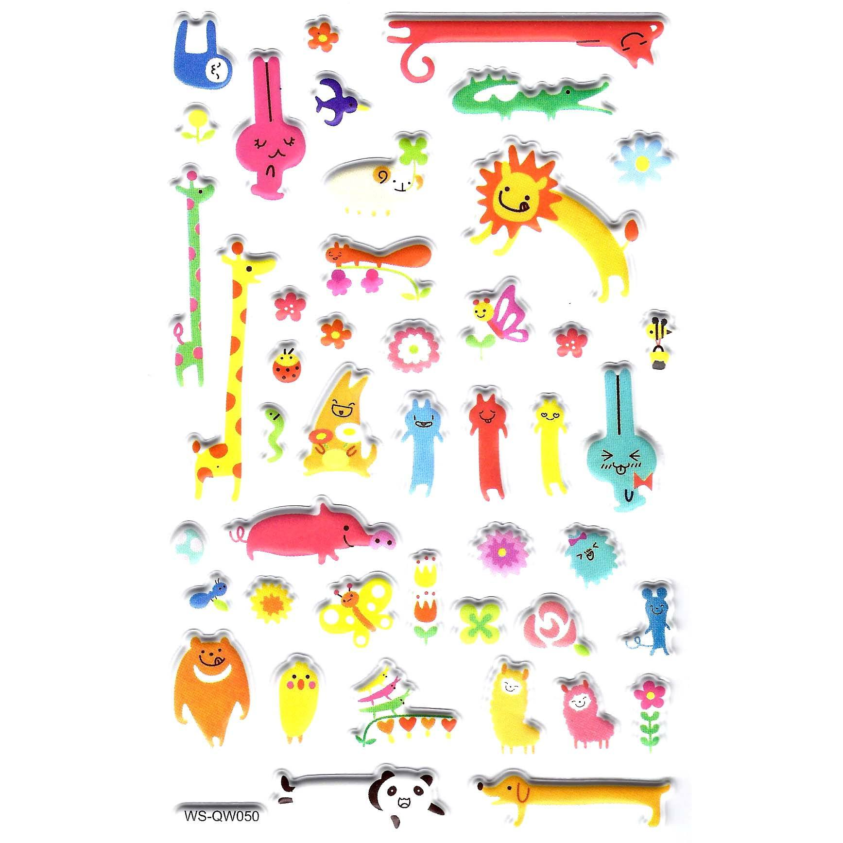 Abstract Animal Illustrated Stickers for Scrapbooking and Decorating