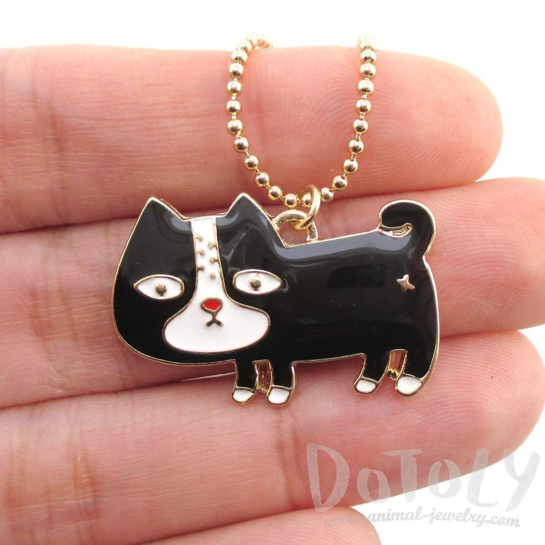 Cute Black and White Kitty Cat Shaped Pendant Necklace