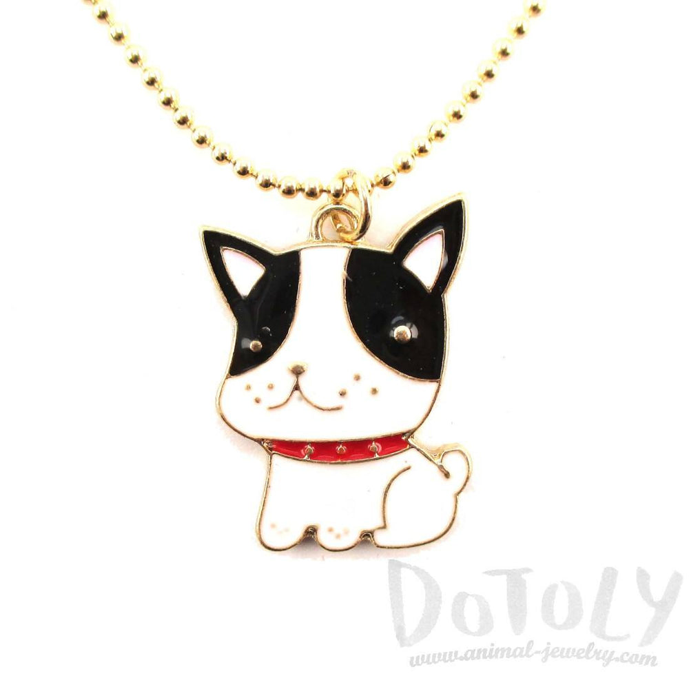 Boston Terrier Puppy Dog Shaped Animal Pendant Necklace