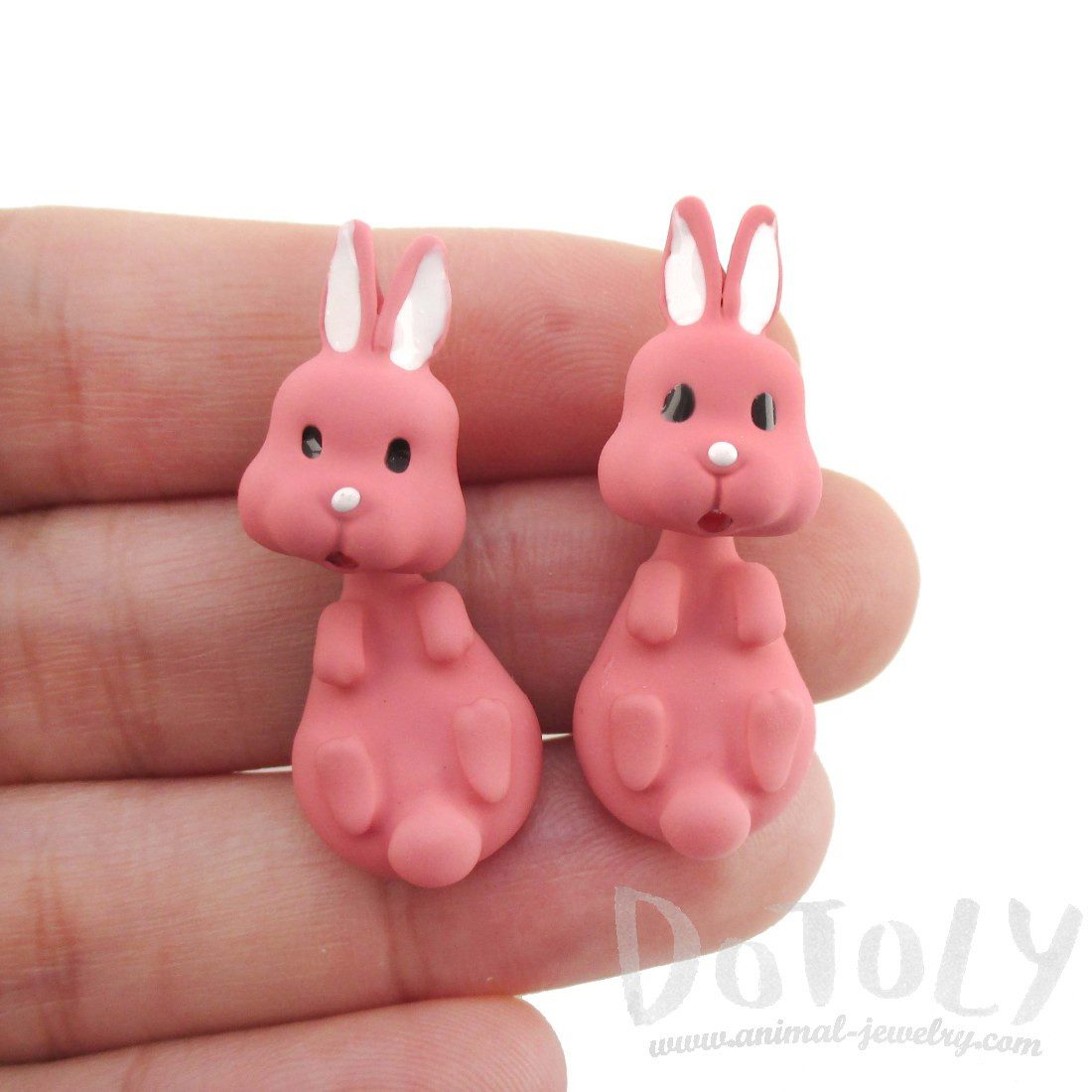 3D Bunny Rabbit Shaped Two Part Stud Earrings in Pink