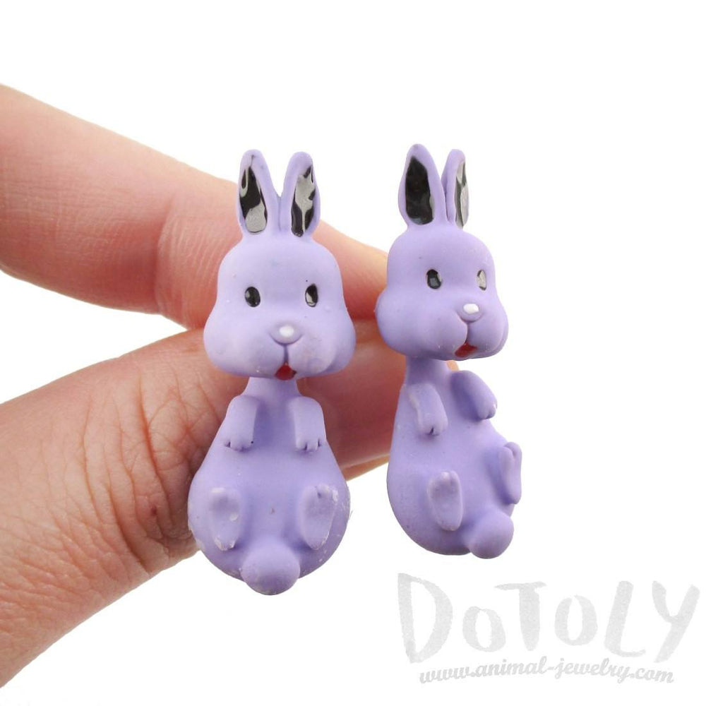 3D Bunny Rabbit Shaped Two Part Stud Earrings in Purple