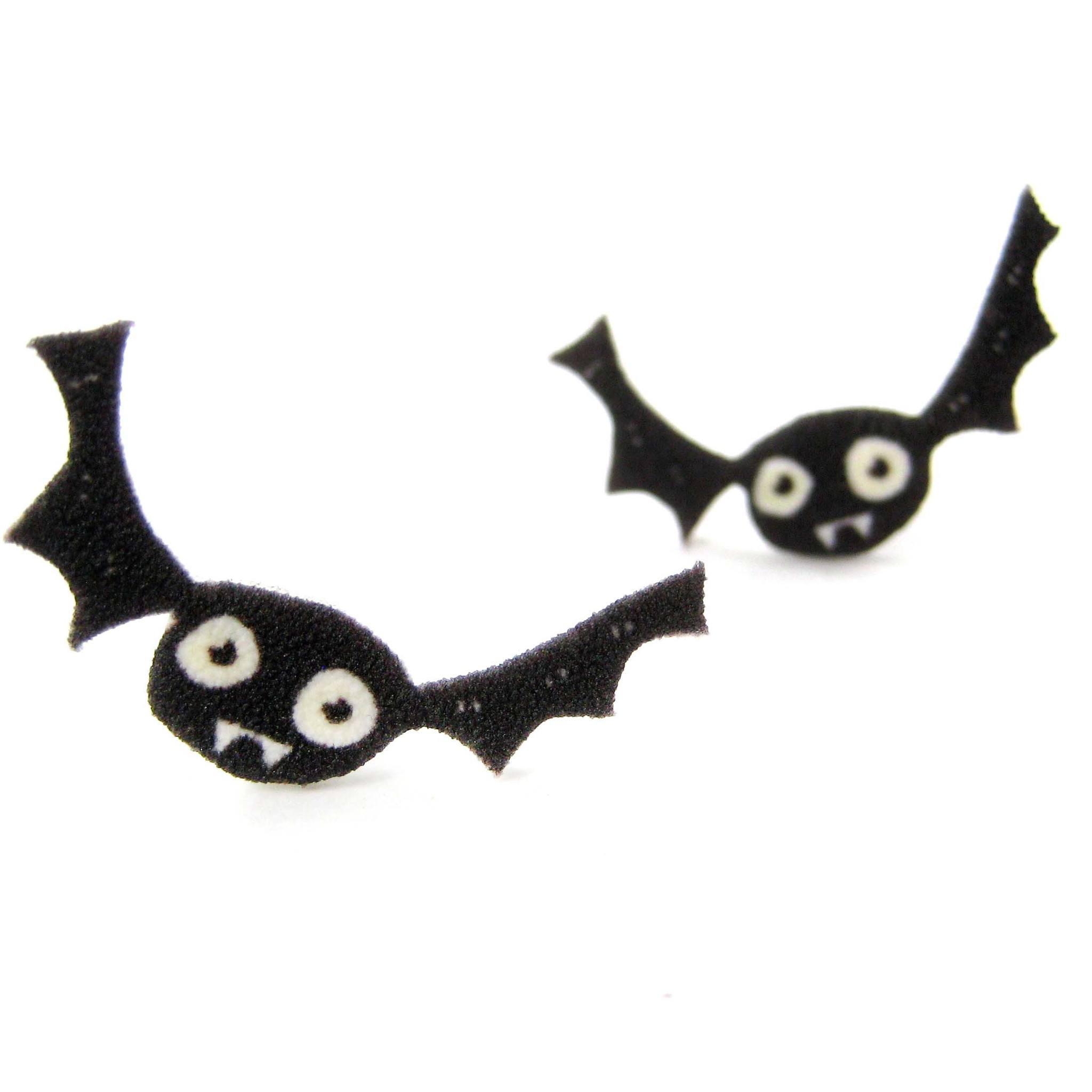 Cute Cartoon Bat Shaped Animal Hand Drawn Stud Earrings | Shrink Plastic