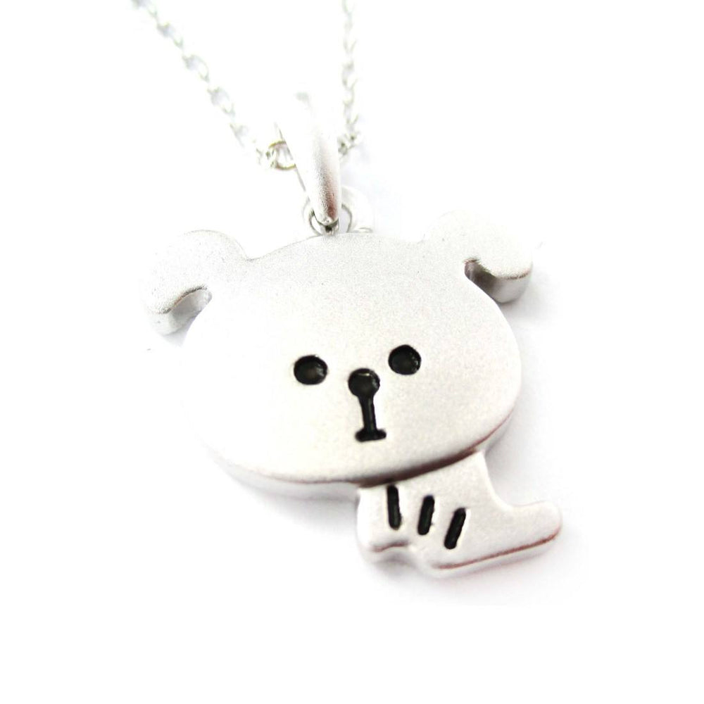 Cartoon Puppy Dog Shaped Pendant Necklace in Silver | Animal Jewelry