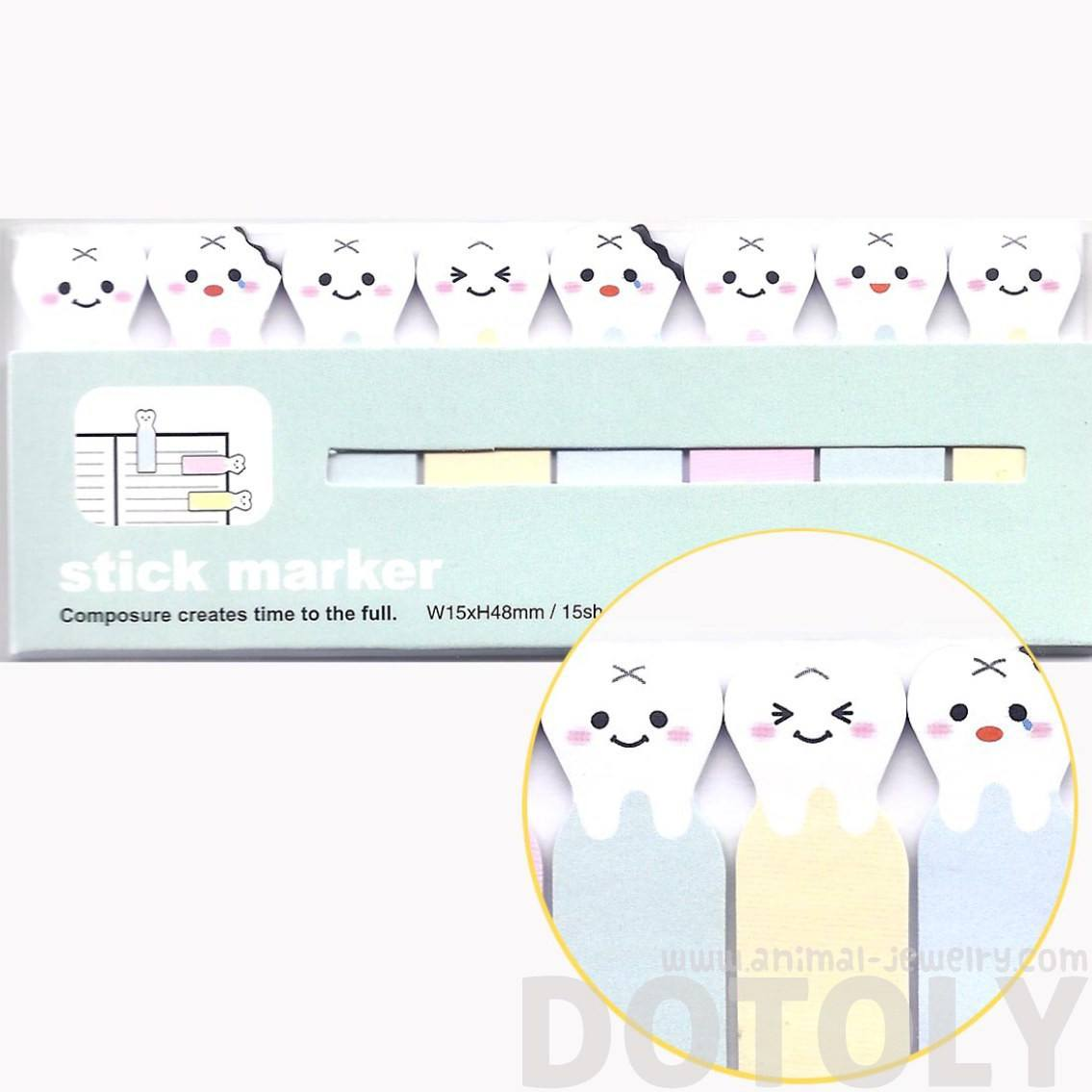 Cute Cartoon Teeth Rotten Tooth Shape Memo Post-it Index Bookmark Tabs