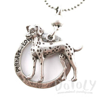 Cute Dalmatian Shaped Pendant Necklace in Silver
