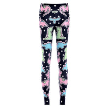 Cute Dinosaur and Polka Dots Digital Print Stretch Leggings for Women