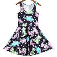 Cute Dinosaurs and Polka Dot All Over Print Sleeveless Skater Dress