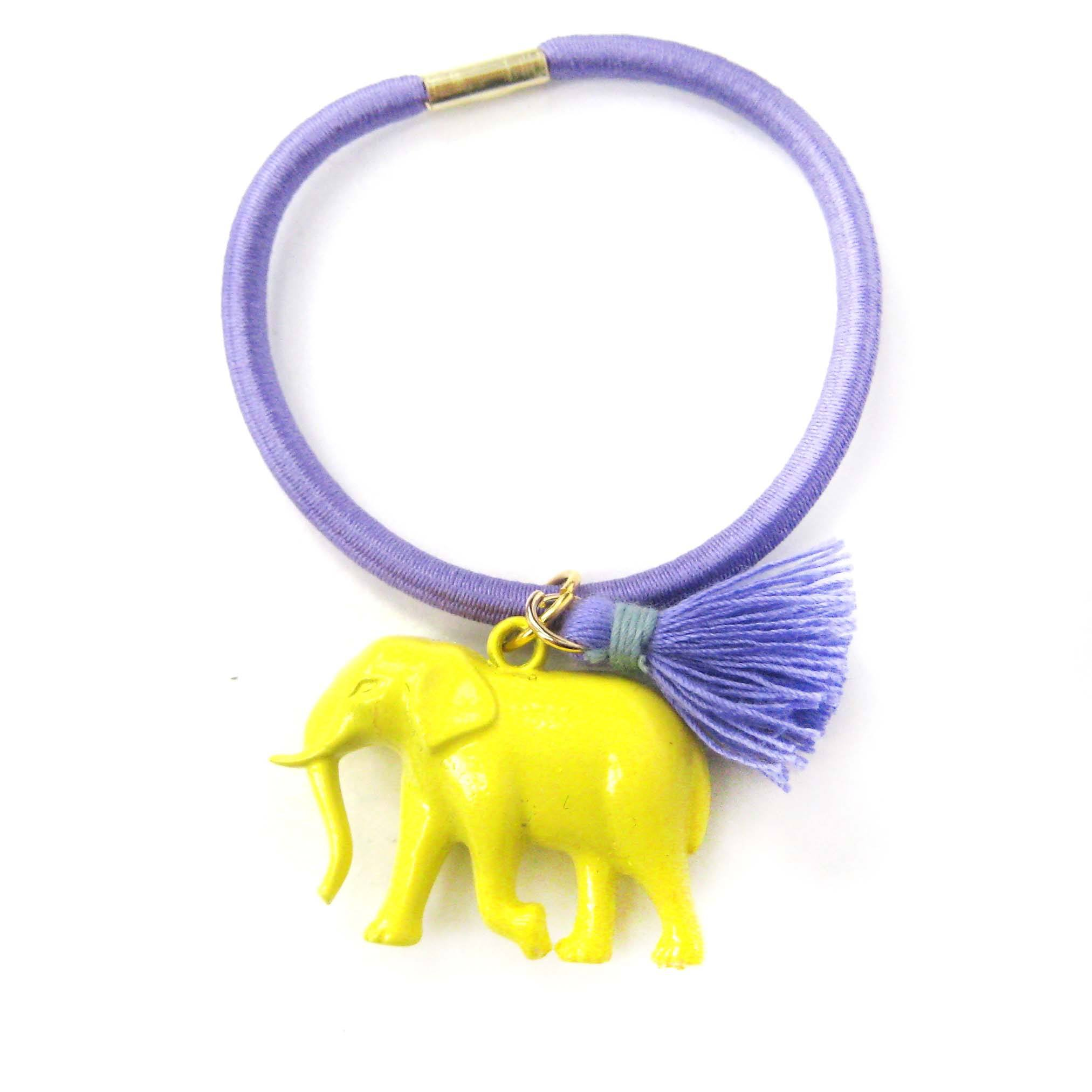 Cute Elephant Charm Hair Tie Pony Tail Holder in Bright Yellow