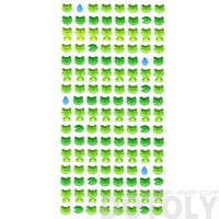 Cute Froggy Frog Face and LilyPad Shaped Animal Themed Puffy Stickers