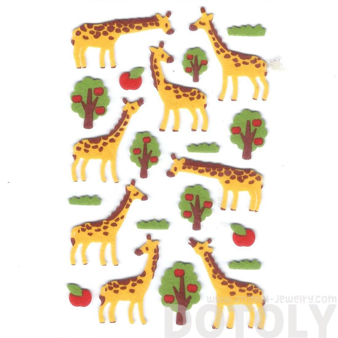Cute Giraffe Shaped Animal Themed Felt Stickers for Scrapbooking