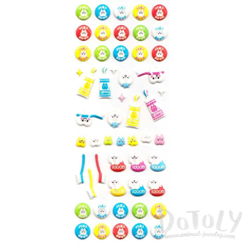 Cute Kawaii Teeth Tooth Dentist Themed Puffy Stickers