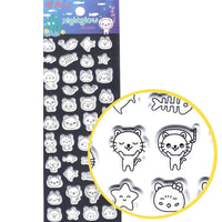 Cute Kitty Cat Outline Shaped Animal Puffy Glow In The Dark Stickers