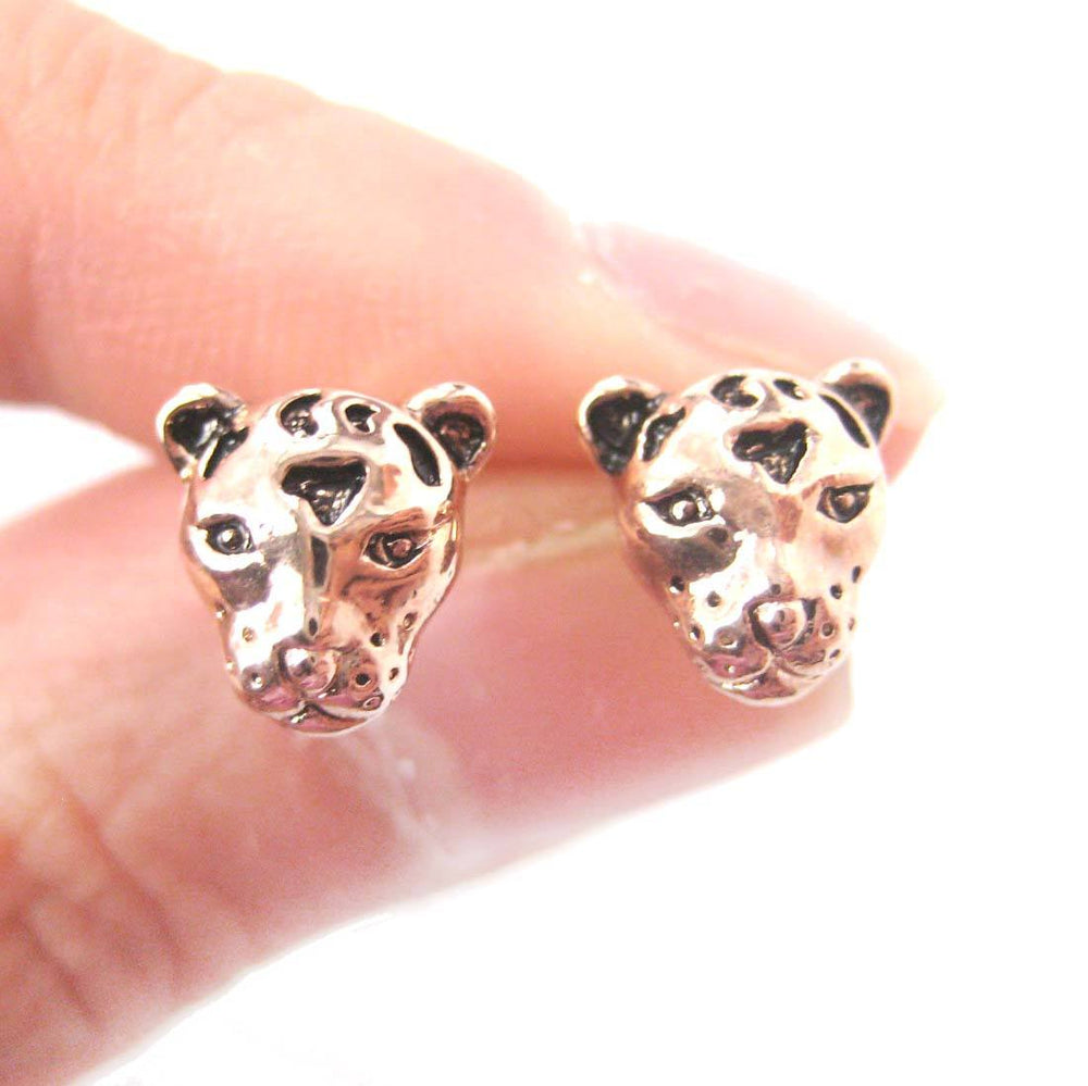 Leopard Cheetah Shaped Large Animal Themed Stud Earrings in Rose Gold