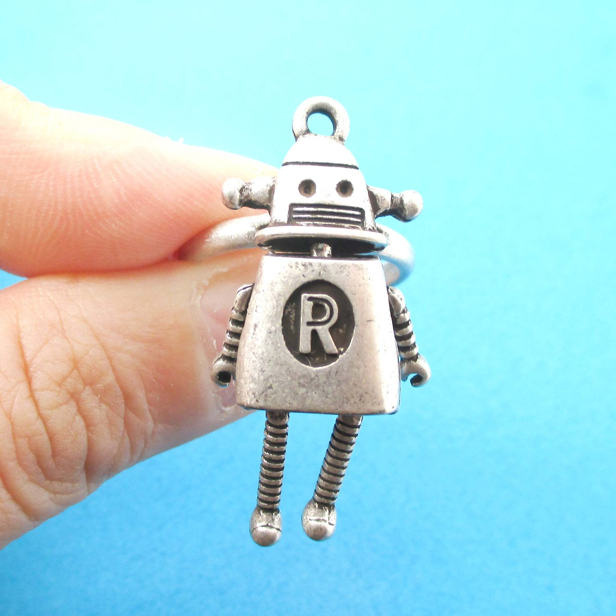 Cute Miniature Robot Shaped Adjustable Ring in Silver